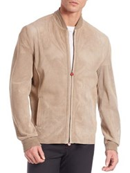 Kiton Perforated Suede Jacket Tan