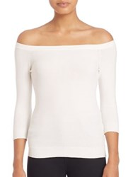 Milly Pointelle Off The Shoulder Pullover White