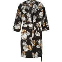 River Island Womens Black Floral Print Belted Kimono