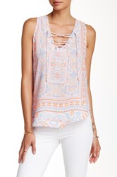 Want And Need Lace Up Printed Tank Pink