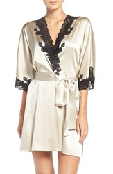 Christine Lingerie Women's Stretch Silk Robe Platinum Kohl Lace