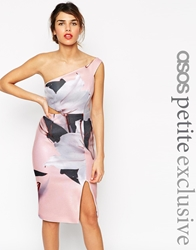 Asos Petite Premium Pencil Dress In Soft Floral Orchid Multi