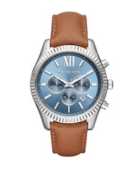 Michael Kors Lexington Stainless Steel Leather Strap Chronograph Watch Brown