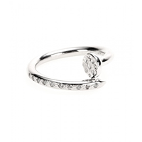 Roberto Marroni 18Kt Rhodium Plated White Gold Big Nail Ring With Diamonds White Gold Rhodium Polish