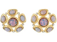 Kenneth Jay Lane Satin Gold Crystal Pink Opal Cab Cluster Pierced Ear Earrings Pink Opal Earring