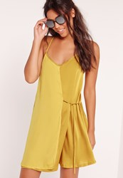 Missguided Satin Strappy Tie Side Swing Dress Green Green