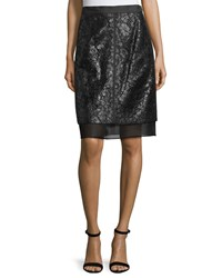 J. Mendel Lace Overlay Pencil Skirt Noir