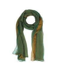 Laura Biagiotti Gradient Green Camel Silk Long Scarf