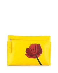 Loewe Fiore Leather Zip Pouch Yellow Red Yellow Red