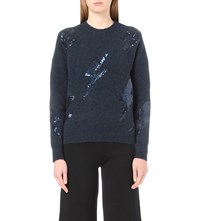 Moandco. Thunder Sequin Embellished Knitted Jumper Majolica Blue