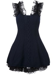 Valentino Cable Knit Mini Dress Blue