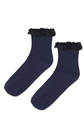 Topshop Lace Trim Ankle Socks Navy Blue