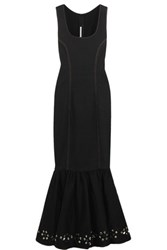 Alessandra Rich Crystal Embellished Stretch Denim Gown Black