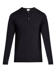 Sunspel Long Sleeved Wool Henley Top Dark Navy