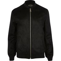 River Island Mens Black Faux Suede Bomber Jacket