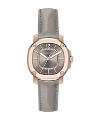 Burberry Diamond 18K Rose Goldplated Stainless Steel And Grey Patent Leather Strap Watch
