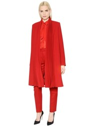 Ingie Pleated Wool Crepe Coat