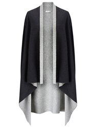 Jacques Vert Reversible Cover Up Knit Poncho Dark Grey