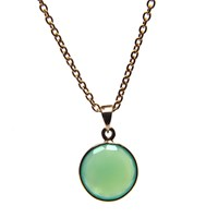 Puck Wanderlust Gold May Birthday Charm Necklace Chrysoprase Green Silver