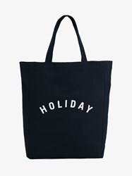 Holiday Logo Print Cotton Tote Navy White Raspberry Denim