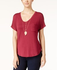 Belle Du Jour Juniors' V Neck T Shirt With Necklace Deep Merlot