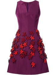 Carolina Herrera Floral Applique Dress Pink And Purple