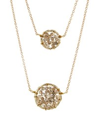 Panacea Double Strand Crystal Circle Pendant Necklace Gold