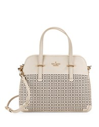 Kate Spade Maise Perforated Leather Dome Bag Crisp Linen