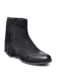 Steve Madden Cassidy Leather Fringe Booties Black