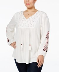 Styleandco. Style Co. Plus Size Embroidered Beaded Peasant Top Only At Macy's Floral Vine White