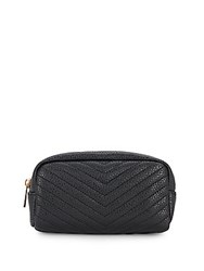 Kc Jagger Charlie Chevron Quilted Faux Leather Pouch Black
