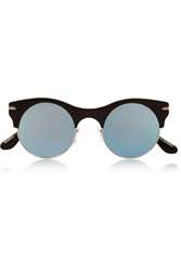 Roland Mouret Max Mirror Round Frame Metal And Acetate Sunglasses
