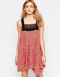 Hazel Embroidered Bib Front Mini Dress In Red Red