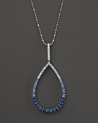 Bloomingdale's Sapphire And Diamond Ombre Teardrop Pendant Necklace In 14K White Gold White Blue