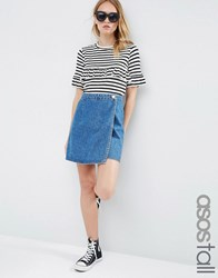 Asos Tall Denim Wrap A Line Skirt In Mid Wash Blue Mid Wash