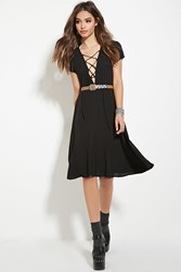 Forever 21 Lace Up Dress Black