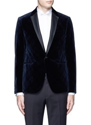 Armani Collezioni 'Metropolitan' Glen Plaid Velvet Tuxedo Blazer Blue