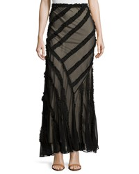 Haute Hippie Long Skirt With Frayed Stripe Detail Black