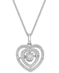 Twinkling Diamond Star Diamond Nested Heart Pendant Necklace In 10K White Gold 1 5 Ct. T.W.