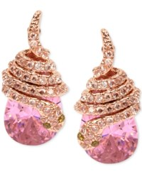 Betsey Johnson Rose Gold Tone Pink Crystal Pave Snake Stud Earrings