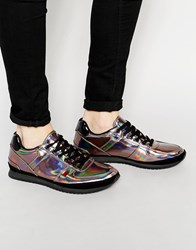Asos Lace Up Sneakers In Silver Iridescent Silver