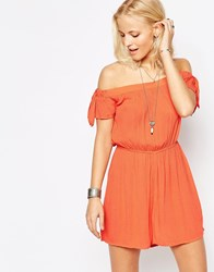 Influence Tie Sleeve Bardot Playsuit Coral Pink