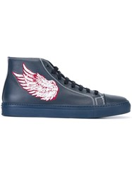Roberto Cavalli Embroidered 'Pegasus' Hi Tops Blue