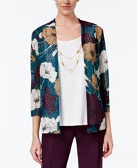 Alfred Dunner Floral Print Layered Look Top Multi