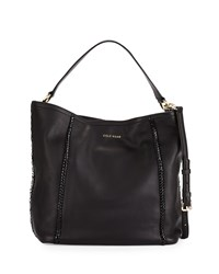 Cole Haan Nickson Whipstitch Trim Leather Hobo Bag Black