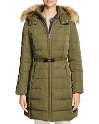 Kate Spade New York Bow Buckle Belted Down Coat Loden
