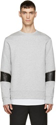 Tim Coppens Grey Leather And Zipper Pullover