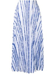 Scanlan Theodore Striped Lace Pleated Skirt White