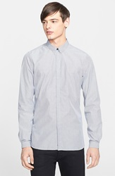 The Kooples Trim Fit Stripe Sport Shirt With Skull Detail Navy White