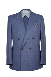 Chester Barrie Kingly Dbured Semi Plain Jacket Blue